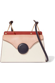 Phoebe calf hair-paneled leather shoulder bag