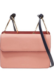 Mia smooth and textured-leather shoulder bag