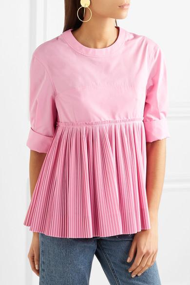 Cédric Charlier Bluse aus einer Baumwollmischung mit plissiertem Schößchen Billig Verkauf Exklusiv y5dvfe6cAd