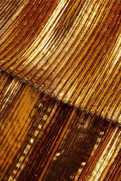 Cédric Charlier Mehrlagiges Kleid aus plissiertem Lamé