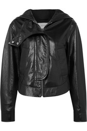 Cédric Charlier Hooded glossed textured-leather jacket