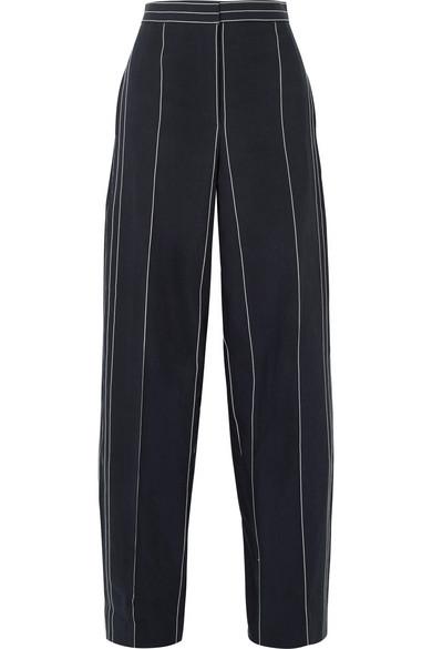 Cédric Charlier Hose mit weitem Bein aus einer Leinen-Baumwollmischung mit Streifen
