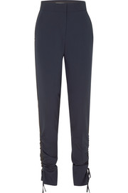 Ruched wool-blend crepe tapered pants
