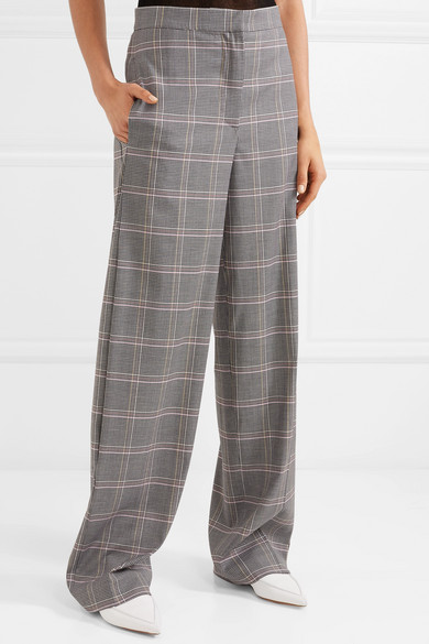 Cédric Charlier Checked Trousers With Wide Legs From A Wool Blend