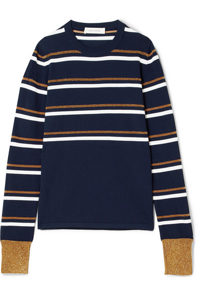 Cédric Charlier Gestreifter Strickpullover in Metallic-Optik