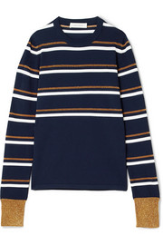 Striped metallic knitted sweater