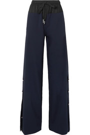 Shell-trimmed wool-blend wide-leg pants