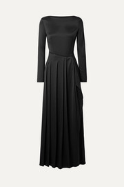 Pleated satin-twill maxi dress