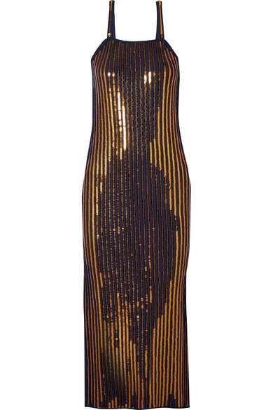 Sequined Ribbed Stretch-knit Midi Dress - Gold Cedric Charlier Sale Best Wholesale Latest Collections For Sale Inexpensive Sale Online Discount Pick A Best Sale Fashionable o7BnGQUbEE