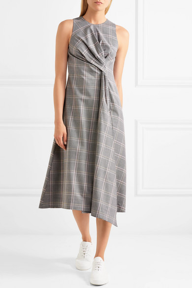 Cédric Charlier Midi Dress In A Wool Blend With Glencheck-pattern And Twist-detail