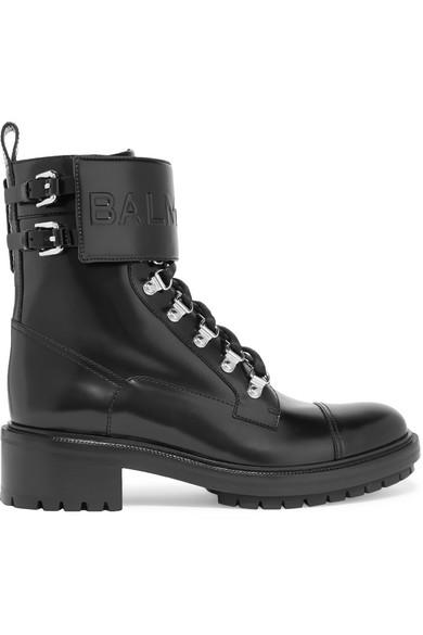Balmain Ranger Ankle Boots aus Leder mit Logoprägung