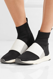 Cameron leather-trimmed stretch-knit and mesh high-top sneakers