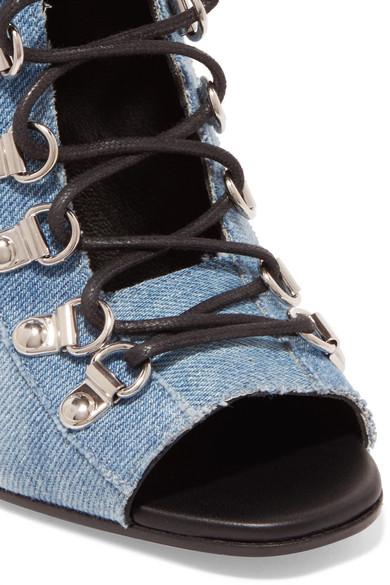 Balmain Club Ankle Boots aus Denim mit Schnürung Günstiger Preis IWXb8F