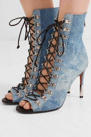 Club lace-up denim ankle boots