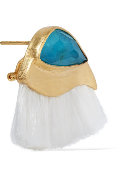 Katerina Makriyianni Peacock Fringed Gold-plated, Quartz And Chrysocolla Earrings - White