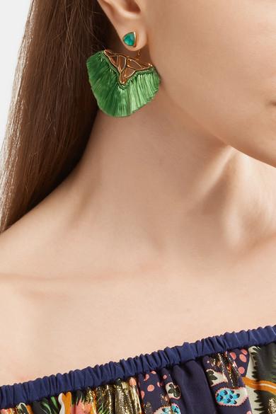 Fringed Gold Vermeil, Quartz And Agate Earrings - Green Katerina Makriyianni