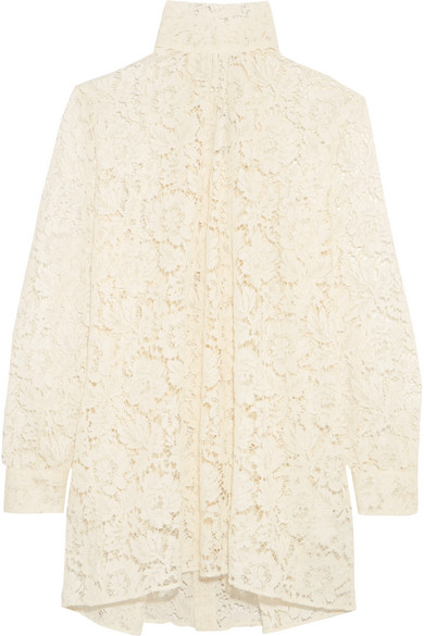 Valentino - Pussy-bow Cotton-blend Lace Blouse - Ivory