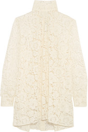Valentino Pussy-bow cotton-blend lace blouse