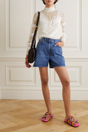 Valentino Lace-trimmed wool and silk-blend mesh blouse