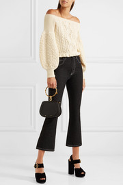 Valentino Off-the-shoulder cable-knit wool sweater