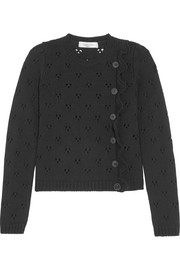 Valentino Ruffled pointelle-knit wool sweater