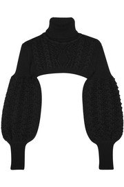Valentino Cropped cable-knit wool turtleneck sweater
