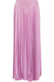 Pleated silk-crepe midi skirt