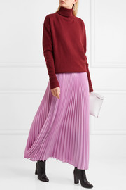 Valentino Pleated silk-crepe midi skirt