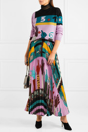 Valentino Pleated printed silk midi skirt