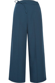 Cropped wool-crepe wide-leg pants