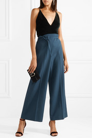 Valentino Cropped wool-crepe wide-leg pants