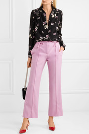 Valentino Bow-embellished wool-crepe flared pants