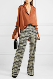 Valentino Printed wool-twill wide-leg pants