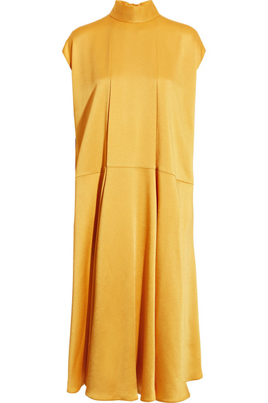 Valentino - Hammered-satin Midi Dress - Yellow