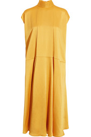 Valentino Hammered-satin midi dress