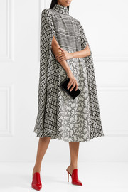 Valentino Cape-effect printed silk-blend crepe dress