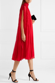 Valentino Cape-effect plissé silk crepe de chine dress