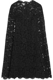 Valentino Cape-effect lace mini dress