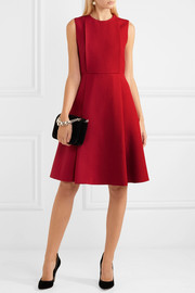 Valentino Pleated wool and silk-blend crepe dress