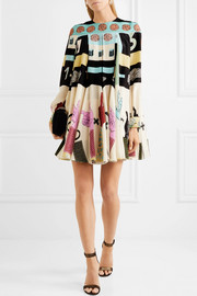 Valentino Printed silk crepe de chine mini dress