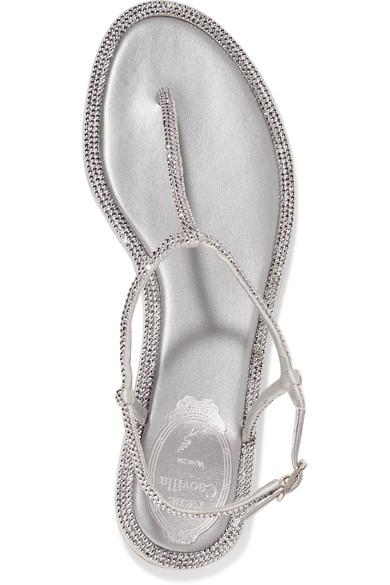 Natürlich Und Frei René Caovilla Saint Sandalen aus Metallic-Leder mit Kristallen Neueste Billiger Großhandel Sq7djdWe