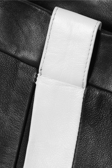 Mugler Verkürzte Schlaghose aus Leder mit Streifen
