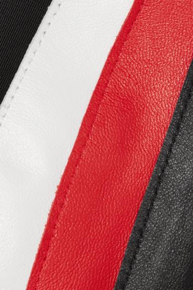 Mugler Minirock aus Leder mit Streifen