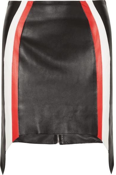 Mugler - Striped Leather Mini Skirt - Black