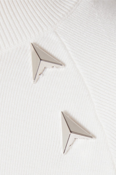 Mugler Verzierter Rollkragenpullover aus Stretch-Strick