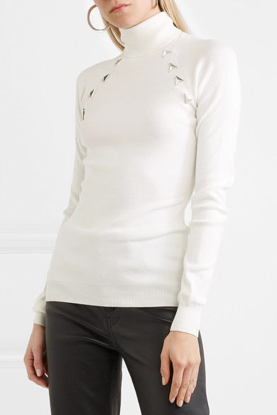 Footlocker Cheap Online Cheap Sale Discount Embellished Stretch-knit Turtleneck Sweater - Off-white MUGLER Discounts Cheap Price Fashionable Cheap Price qTG6T7IvXY