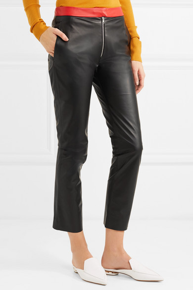 Victoria Beckham Zweifarbige Lederhose mit schmalem Bein