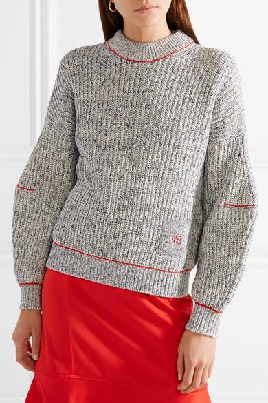 Kostenloser Versand Victoria Beckham Bestickter Pullover aus einer Baumwoll-Wollmischung Frei Verschiffen Angebot Freies Verschiffen Billig PmnV3nDoE