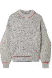 Embroidered cotton and wool-blend sweater