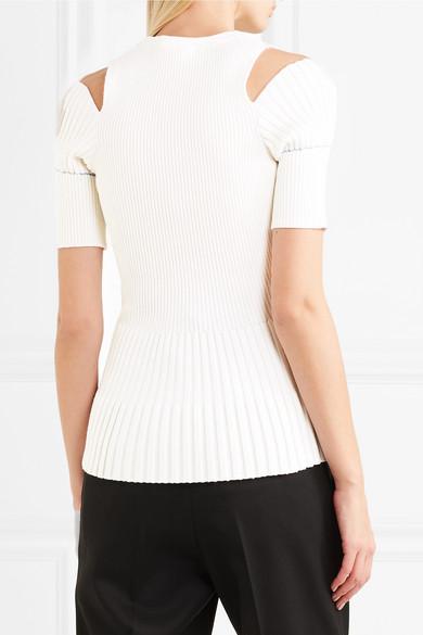 Victoria Beckham Oberteil aus Rippstrick aus einer Wollmischung mit Cut-outs
